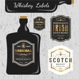 Modello di progettazione dell'etichetta di marche del whiskey illustrazione di stock