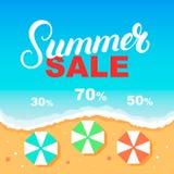 Modello di progettazione dell'insegna di vendita di estate Mare, spiaggia, ombrelli Fotografie Stock Libere da Diritti