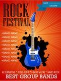 Modello di progettazione dell'insegna di festival rock con la chitarra Immagini Stock Libere da Diritti