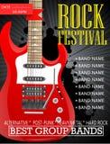 Modello di progettazione dell'insegna di festival rock con la chitarra Fotografie Stock