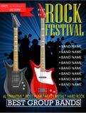 Modello di progettazione dell'insegna di festival rock con la chitarra Immagine Stock Libera da Diritti