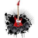 Modello di progettazione dell'insegna di festival rock con la chitarra Fotografia Stock