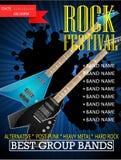 Modello di progettazione dell'insegna di festival rock con la chitarra Immagine Stock