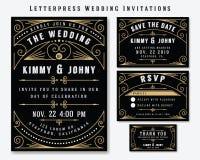 Modello di progettazione dell'invito di nozze dello scritto tipografico Fotografia Stock