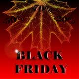 Modello di progettazione dell'iscrizione di vendita di Black Friday Black Friday su un fondo rosso con le foglie di autunno Fotografia Stock Libera da Diritti