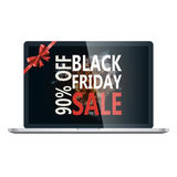 Modello di progettazione dell'iscrizione di vendita di Black Friday Insegna di Black Friday con il nastro dell'arco Speciale di s Immagine Stock