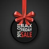 Modello di progettazione dell'iscrizione di vendita di Black Friday Insegna di Black Friday con il nastro dell'arco Speciale di s Immagine Stock Libera da Diritti