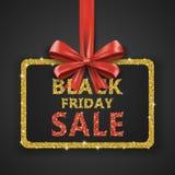 Modello di progettazione dell'iscrizione di vendita di Black Friday Insegna di Black Friday con il nastro rosso dell'arco Fotografia Stock Libera da Diritti