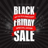 Modello di progettazione dell'iscrizione di vendita di Black Friday migliore Vettore dell'insegna di Black Friday Fotografia Stock