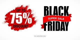 Modello di progettazione dell'iscrizione di vendita di Black Friday migliore Vettore dell'insegna di Black Friday Immagini Stock