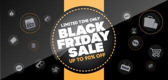 Modello di progettazione dell'iscrizione di vendita di Black Friday Bann di Black Friday Fotografia Stock