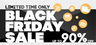 Modello di progettazione dell'iscrizione di vendita di Black Friday Bann di Black Friday Fotografie Stock Libere da Diritti