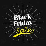 Modello di progettazione dell'iscrizione di vendita di Black Friday di vettore Fondo di Black Friday con l'icona differente dei d Fotografie Stock