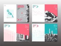 Modello di progettazione dell'opuscolo della copertura, rapporto annuale, aletta di filatoio, DES piano Fotografia Stock