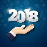 Modello di progettazione della cartolina d'auguri con testo moderno per 2018 nuovi Immagini Stock Libere da Diritti