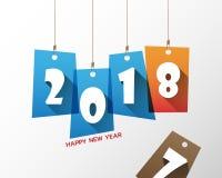 Modello di progettazione della cartolina d'auguri con testo moderno per 2018 nuovi anni Immagini Stock