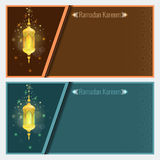 Modello di progettazione della cartolina d'auguri del kareem del Ramadan con la lampada Fotografia Stock