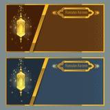 Modello di progettazione della cartolina d'auguri del kareem del Ramadan con la lampada Immagini Stock