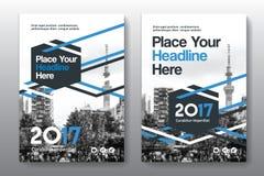 Modello di progettazione della copertina di libro di affari del fondo della città in A4 immagini stock libere da diritti