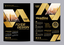 Modello di progettazione della disposizione dell'opuscolo dell'oro Fondo moderno di presentazione della copertura dell'opuscolo d illustrazione vettoriale