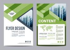 Modello di progettazione della disposizione dell'opuscolo della pianta Presentazione della copertura dell'opuscolo dell'aletta di Fotografia Stock Libera da Diritti