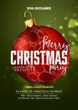 Modello di progettazione della festa di Natale con la palla della decorazione illustrazione vettoriale