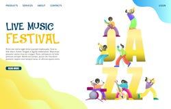 Modello di progettazione della pagina di atterraggio del sito Web di vettore di festival di musica in diretta illustrazione vettoriale