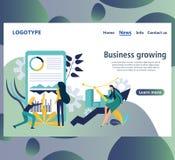 Modello di progettazione della pagina Web per crescita di affari Pagina del sito Web illustrazione di stock