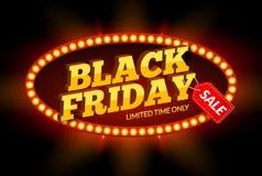 Modello di progettazione della struttura di VENDITA di Black Friday Retro insegna di sconto nero di venerdì con la struttura dell illustrazione di stock