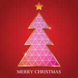 Modello di progettazione di carta del triangolo dell'albero di Buon Natale Illus di vettore Illustrazione di Stock