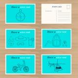 Modello di progettazione di carta di viaggio Fotografie Stock