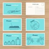 Modello di progettazione di carte di viaggio Immagini Stock Libere da Diritti