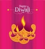 Modello di progettazione di Diwali della carta di vettore Fotografie Stock