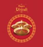 Modello di progettazione di Diwali della carta di vettore Fotografie Stock Libere da Diritti