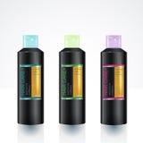 Modello di progettazione di imballaggio per la bottiglia di cura del corpo Immagine Stock