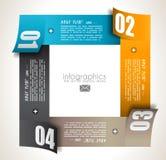 Modello di progettazione di Infographic con le etichette di carta. Immagini Stock