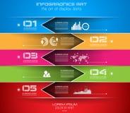 Modello di progettazione di Infographic con le etichette di carta Immagine Stock