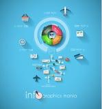 Modello di progettazione di Infographic con le etichette di carta Immagini Stock