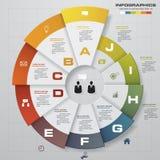 Modello di progettazione di Infographic e concetto di affari con 10 opzioni, parti, punti o processi Immagini Stock