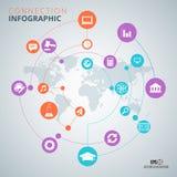 Modello di progettazione di infographics del collegamento Fotografia Stock Libera da Diritti