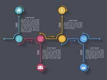Modello di progettazione di Infographics di cronologia Fotografie Stock Libere da Diritti