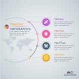 Modello di progettazione di infographics di cronologia con gli elementi di carta numerati Fotografie Stock Libere da Diritti