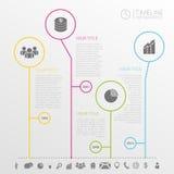 Modello di progettazione di infographics di cronologia del cerchio con le icone Immagini Stock
