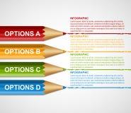 Modello di progettazione di Infographics di opzione della matita di istruzione illustrazione vettoriale