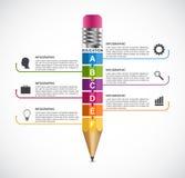 Modello di progettazione di Infographics di opzione della matita di istruzione Fotografie Stock Libere da Diritti