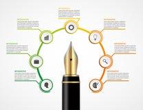 Modello di progettazione di Infographics di opzione della penna di istruzione Fotografia Stock