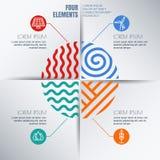 Modello di progettazione di infographics di vettore con quattro elementi Immagine Stock Libera da Diritti