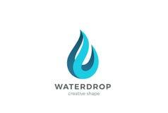 Modello di progettazione di logo della goccia di acqua Concetto di Wave Icona di Waterdrop Idea del Logotype della gocciolina del Fotografia Stock Libera da Diritti