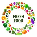 Modello di progettazione di logo di vettore dell'alimento fresco Frutti e Fotografie Stock