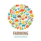 Modello di progettazione di logo di vettore dell'azienda agricola orticoltura o Fotografia Stock